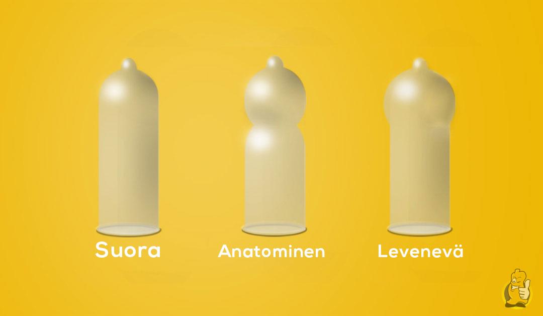 erimuotoisia kondomeja
